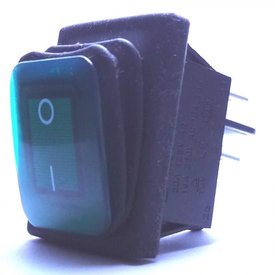 Chave Gangorra KCD2-201N-2-W A Prova D' Agua Verde  Com Marcação