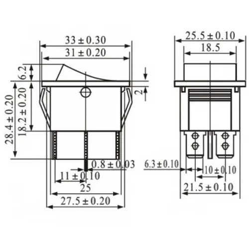 Chave Gangorra KCD4-202C Preta Com Marcação (L-D) 6T