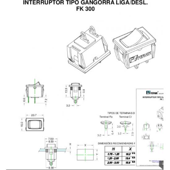 Chave Gangorra FK-300-1-1-A L/D Preta 6A Com Gravacao - Nacional