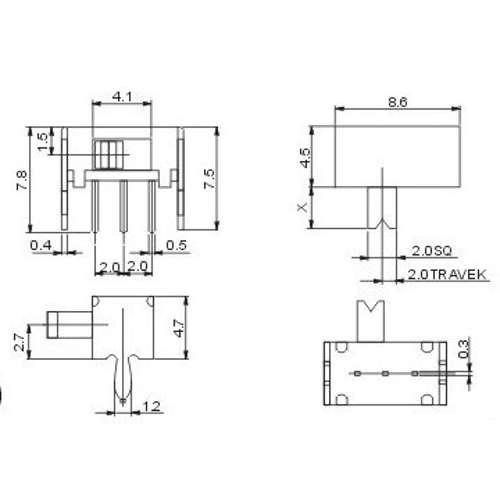 Chave HH SK12D07V G4 90 Graus 3 Terminais + 2 Fixação
