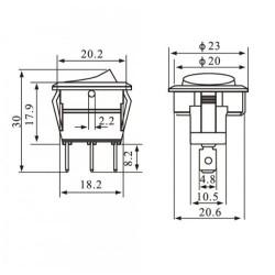 Chave Gangorra KCD1-106A-102N11RBA Vermelho 3T 6A 250V (L/D Com Neon)