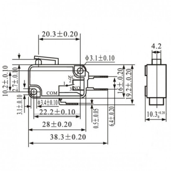 Chave Micro Switch KW11-7-2-3T 14MM