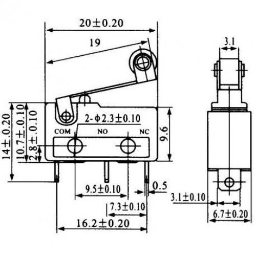 Chave Micro Switch KW11-3Z-5-3T - 17MM SEM RODA