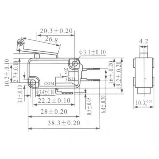 Chave Micro Switch KW11-7-1 2 Terminais Modelo: NA