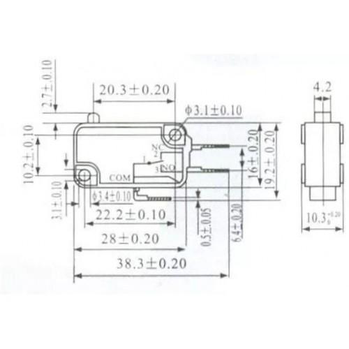 Chave Micro Switch KW11-7-1 3 Terminais NA ou NF