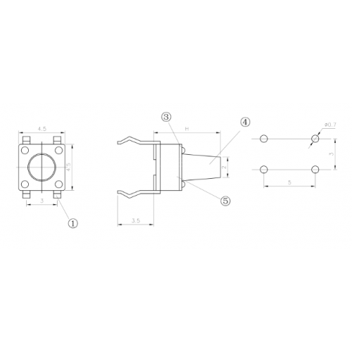 Chave Tactil 6x6x15mm 4 Terminais