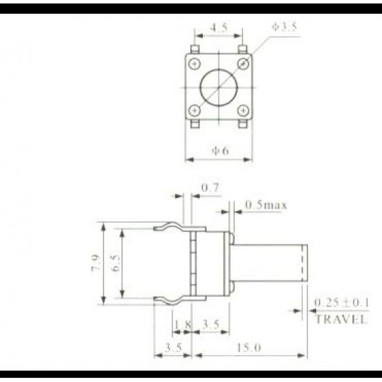 Chave Tactil 6x6x9,5mm 4 Terminais