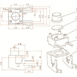 Chave Tactil KFC-A06-W2-7mm 4 Terminais 90 Graus