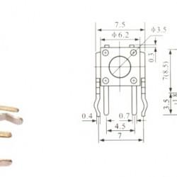 Chave Tactil KFC-A06-W4-12,75MM 4 Terminais 90 Graus