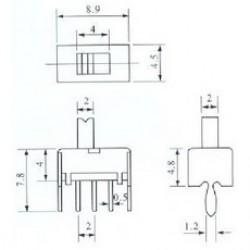 Chave SS-12D07 180 Graus 3 Terminais + 2 Fixação