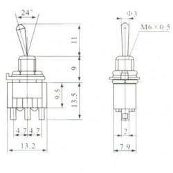 Chave Alavanca MTS123 (3 Posicoes Pulsante 2 Lados)