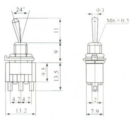 Chave Alavanca MTS112 (Pulsante 1 Lado)