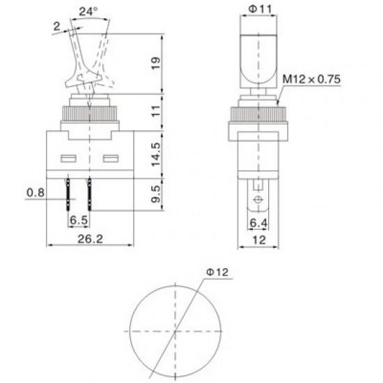 Chave Alavanca ASW-14D Amarela 3T 12V Com Lâmpada