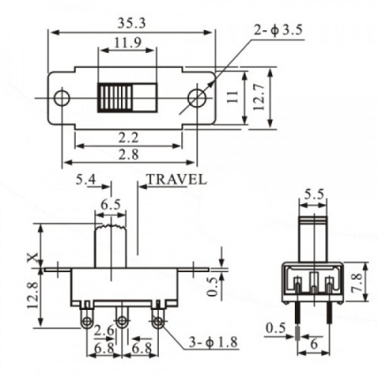 Chave HH SS-22K28G5 6 Terminais 2 Posições