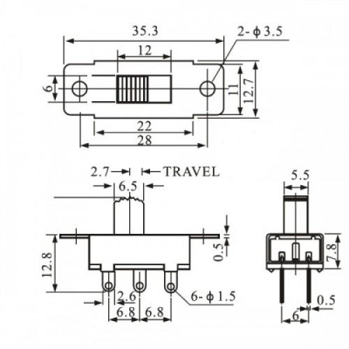 Chave HH SS-23E28 G5 6 Terminais 3 Posições