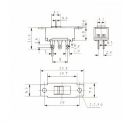 Chave HH 110/220V Pequena 6 Terminais (SS22G95) Sem Rosca Solda Placa