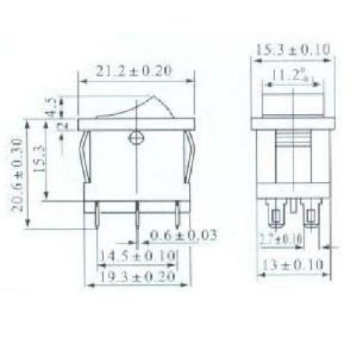 Chave Gangorra KCD1-202 (Liga/desliga) 6 Terminais
