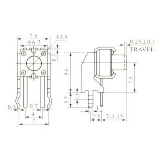 Chave Tactil KFC-A06-W6-6mm 4 Terminais 90 Graus