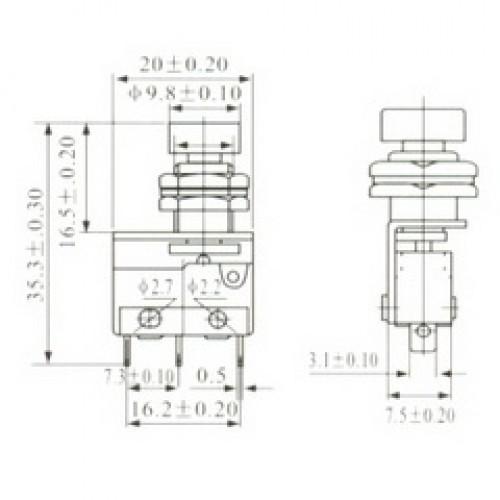 Chave Micro Switch KW11-3Z-1-105 Vermelho