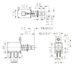 Chave Tecla PS-22F01 Sem Trava Para Placa