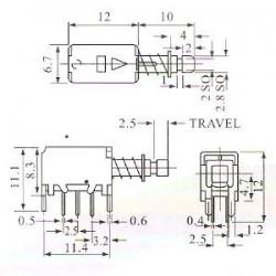 Chave Tecla PS-22F05 Sem Trava Para Placa