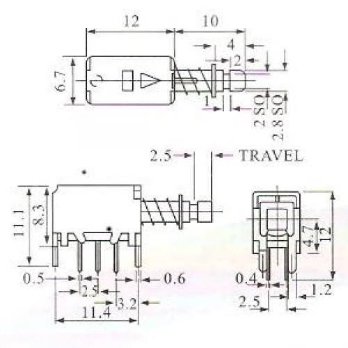 Chave Tecla PS-22F05 Com Trava Para Placa