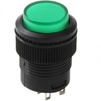 Chave Push Button R16-503BD Sem Trava Com Led Verde 4T