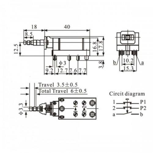 Chave Tecla KDC-A14-4 Com Trava 6 Terminais