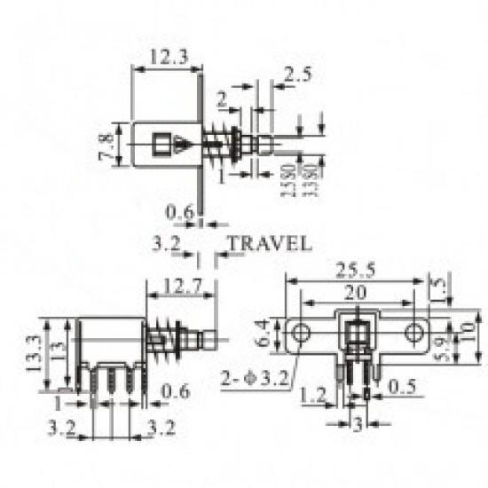 Chave Tecla PS-22F06 Sem Trava 6 Terminais