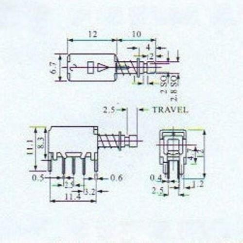 Chave Tecla PS-22F04 Sem Trava 6 Terminais
