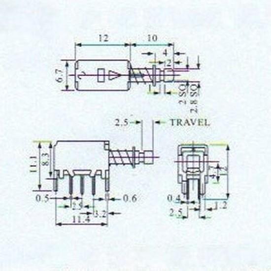 Chave Tecla PS-22F04 Com Trava 6 Terminais