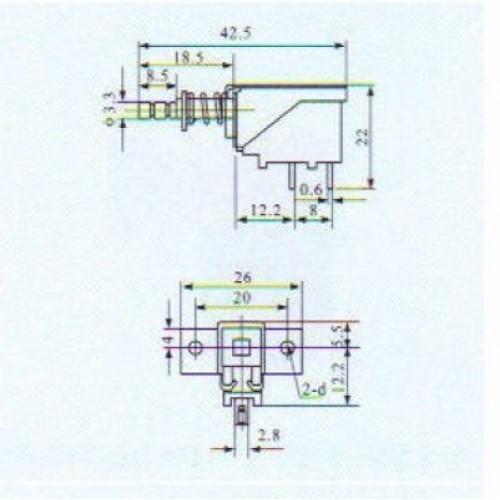 Chave Tecla SW3-3 (PS-12E01) Com Trava 3 Terminais