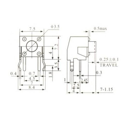 Chave Tactil KFC-A06-W1-7MM 4 Terminais 90 Graus