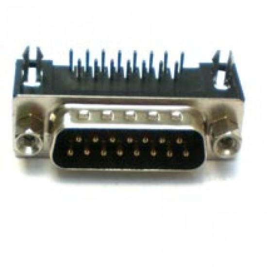 Conector DB15 Macho 90 Graus Solda Placa