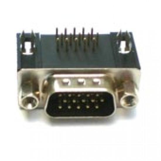 Conector HD15 Macho 90 Graus Solda Placa (DB15 VGA)