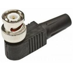 Conector ou Plug BNC Macho Para Solda Angular 90 Graus Com Capa Plástica e Parafuso HBN-125