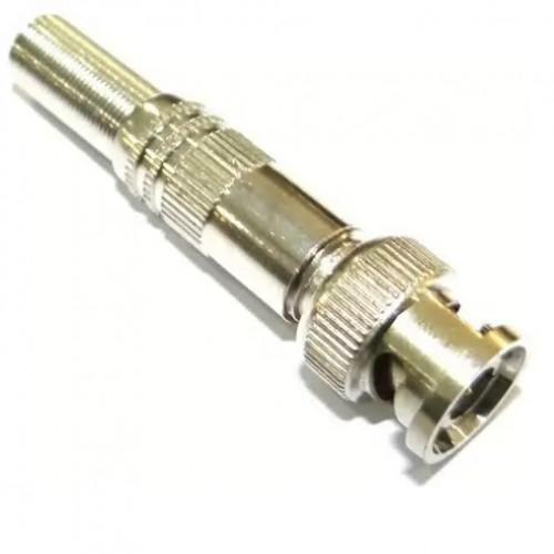 Conector ou Plug BNC Macho Reto 180 Graus Para Cabo Com Mola HBN-081