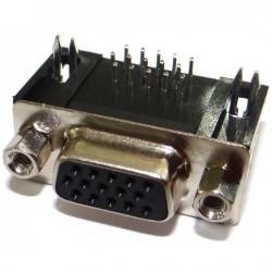 Conector HD15 Femea 90 Graus Solda Placa (DB15 VGA/DE15)
