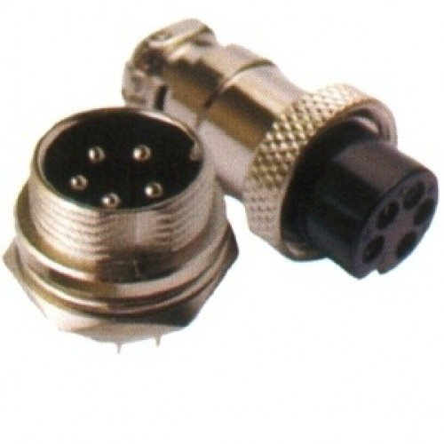 Conector Mike LS-3004-3011 5 Vias Prateado Macho E Fêmea