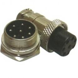 Conector Mike LS-3007-3014 8 Vias Prateado Macho E Fêmea