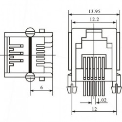 Jack RJ11 6P4C Para Placa YH55-03