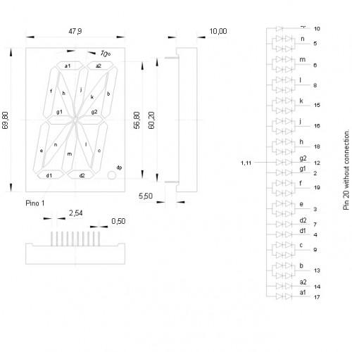 Display De Led Alfanumérico Vermelho Anodo 2,2 D1236ASR