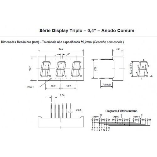 Display De Led Vermelho Anodo Triplo D3042ASR 0,4 Polegadas