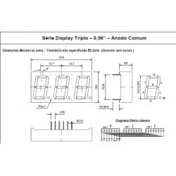 """Display De Led Vermelho Anodo Triplo D3156ASR 0,56"""""""