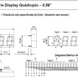 """Display De Led Vermelho Catodo Quádruplo D4156KSR 0,56"""""""