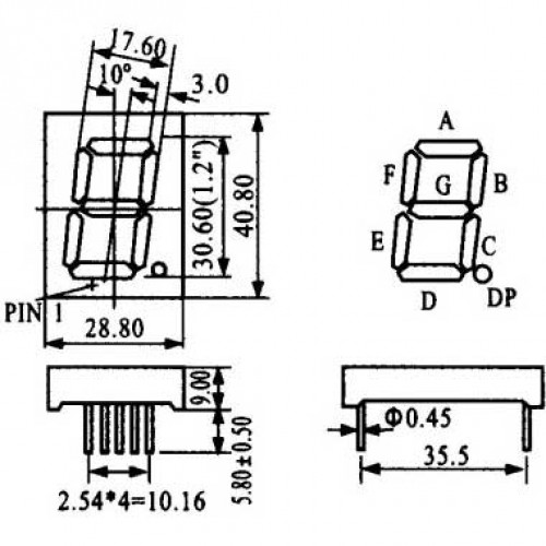 Display De Led Azul Catodo HS-12101AB (40,8x28,8x9mm)