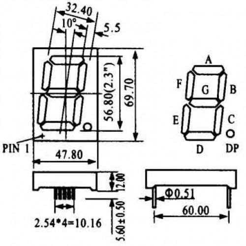 Display De Led Azul Anodo HS-23101BB (69,7x47,8x12mm)