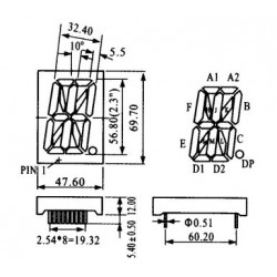 Display De Led Vermelho Catodo HS-23102AS (69,7x47,6x12mm)