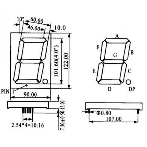 Display De Led Vermelho Catodo HS-40101AS (122x90x15mm)