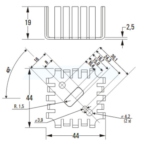 Dissipador de Calor 180650 Com Furo Anodizado Preto